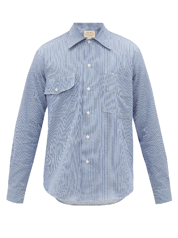 Holiday Boileau Logo-embroidered Pinstriped Cotton Shirt In Navy White