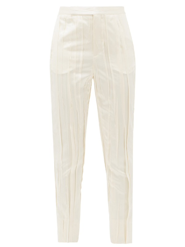 Saint Laurent High-rise Pleated Satin Trousers In 9601 White