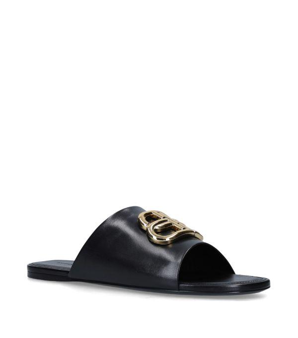 Balenciaga Oval Bb Logo-embellished Leather Slides In 1088 Black