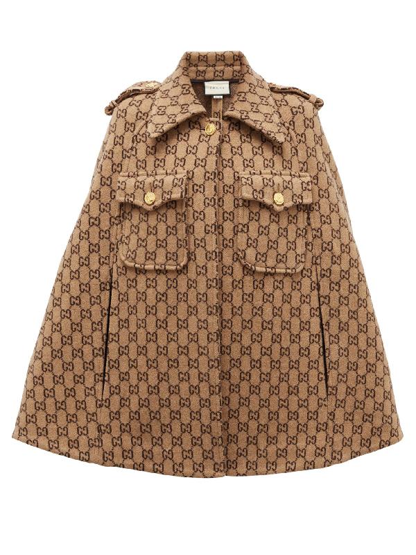 Gucci Double G Monogram Wool Cape In Beige