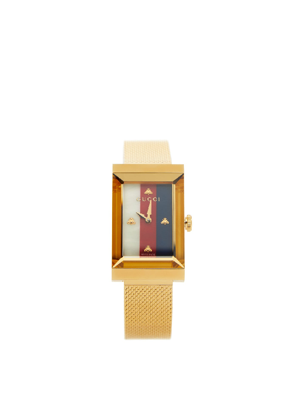 Gucci G-frame Stainless Steel Case 21x34mm Mop Dial Mesh Metal Strap Watch In Undefined