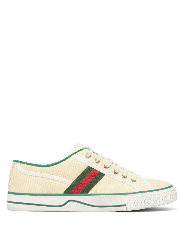Gucci Distressed Canvas And Webbing Sneakers In Neutral