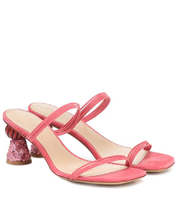 Jacquemus Les Mules Vallena Suede Sandals In Pink