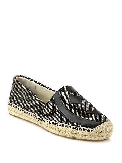 068da2556 Tory Burch Lonnie Logo Woven Espadrille Flat, Black/Brown In Black/ Toasted  Wheat