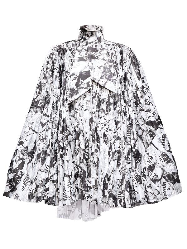 Balenciaga Magazine-print Pleated-satin Cape Dress In Black