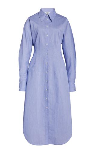 Acne Studios Button-up Cotton-blend Midi Dress In Powder Blue