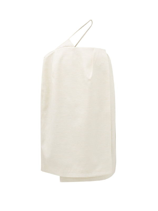 Jacquemus One Shoulder Viscose & Silk Mini Dress In Ecru