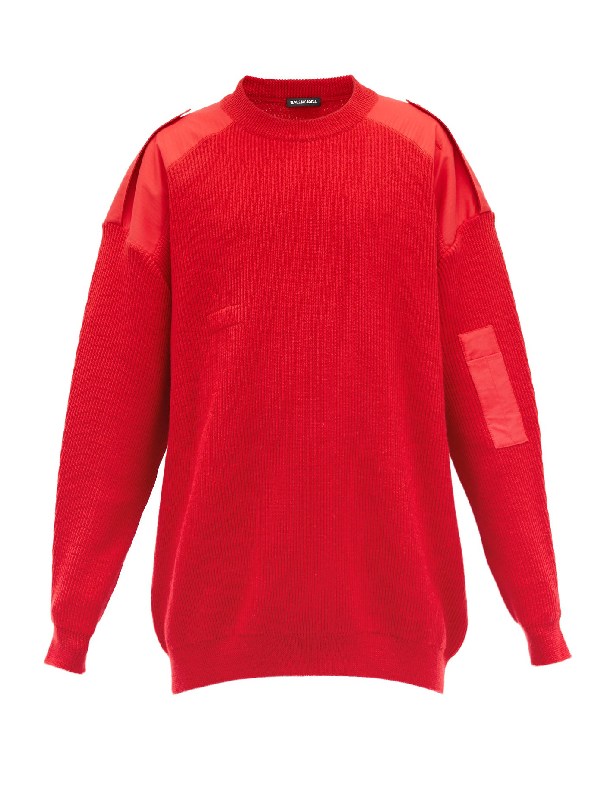 Balenciaga Oversize Crewneck Wool & Cotton Sweater In Red