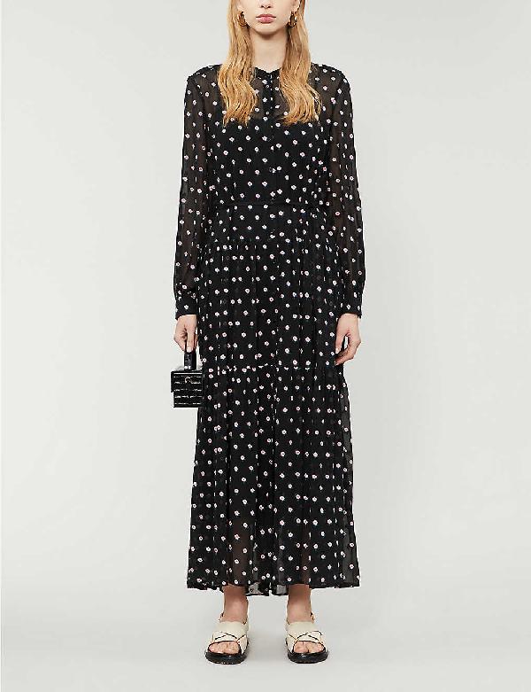 Claudie Pierlot Rivoltae Floral Chiffon Midi Dress In Multico