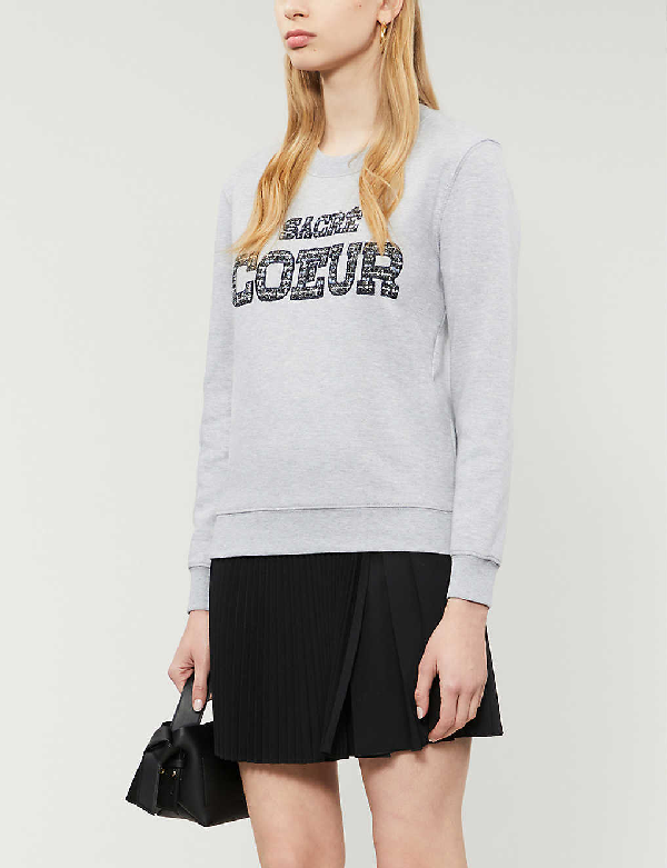 Claudie Pierlot Sacré-caur Embroidered Cotton-blend Jumper In Gris Chine Clair