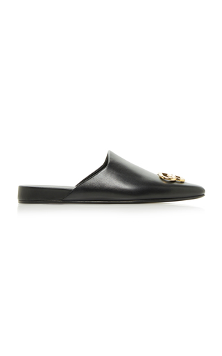 Balenciaga Cosy Bb Logo-embellished Leather Slippers In Black