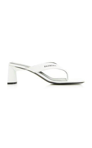Balenciaga Double Square Logo Leather Sandals In White