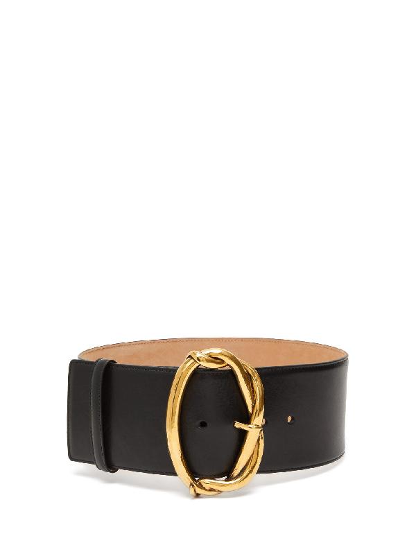 Alexander Mcqueen Goldtone Wire Buckle Leather Belt In Black