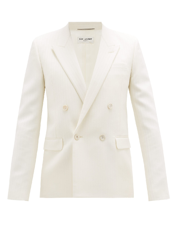 Saint Laurent Double-breasted Jacquard-striped Wool Suit Jacket In 9601 Craie