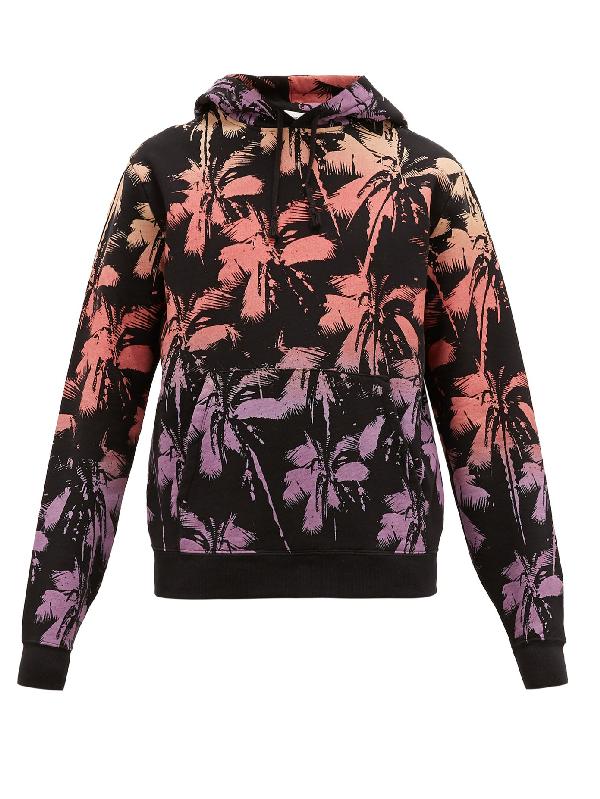 Saint Laurent Palm Tree-print Cotton-jersey Hooded Sweatshirt In Black