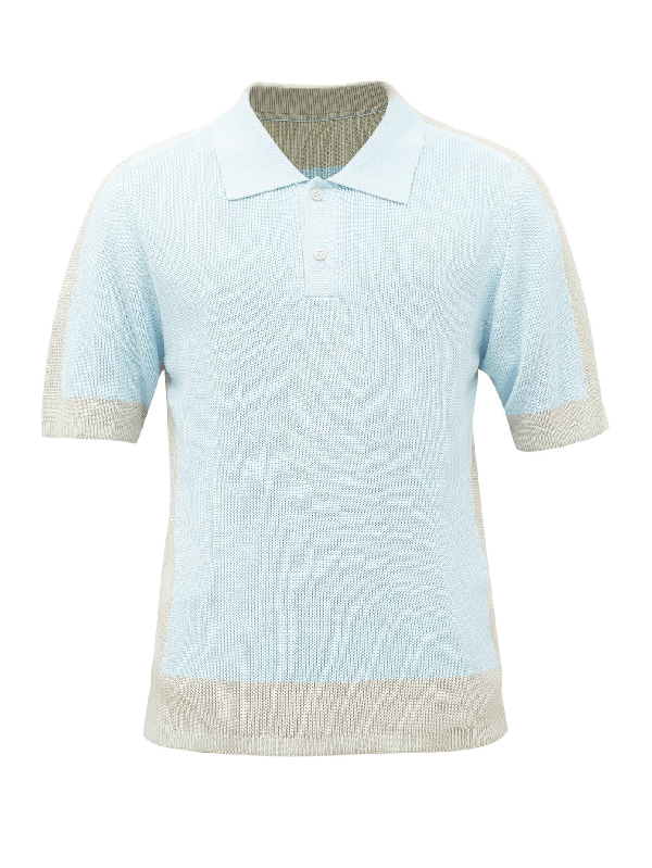 Jacquemus Viscose And Cotton Knit Polo Shirt In Light Blue