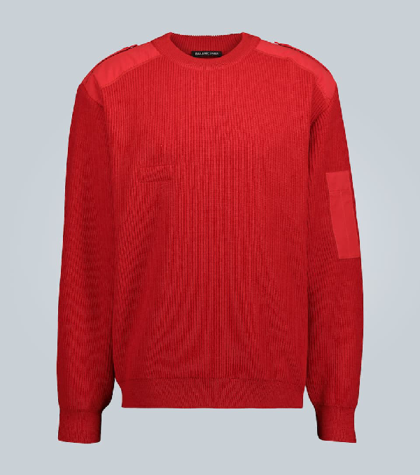 Balenciaga Logo-embroidered Twill-panelled Wool Sweater In Red