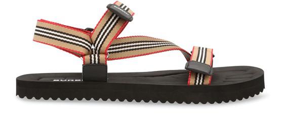Burberry Men's Patterson Stripe Strap Sandals In Black