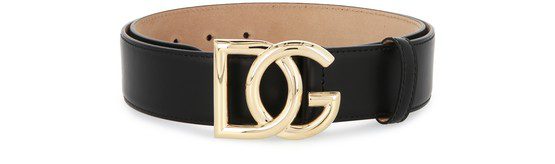 Dolce & Gabbana Crossed Dg Logo Buckle Belt In Black
