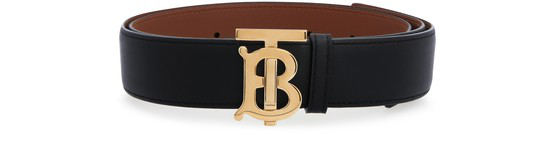 Burberry Reversible Monogram Motif Leather Belt Black In Black/malt Brown