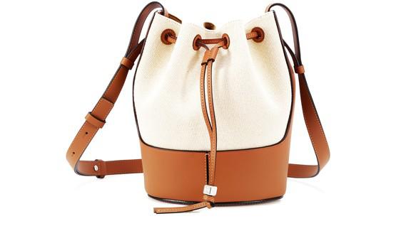 Loewe Small Balloon Woven Cotton & Leather Bucket Bag In Ecru
