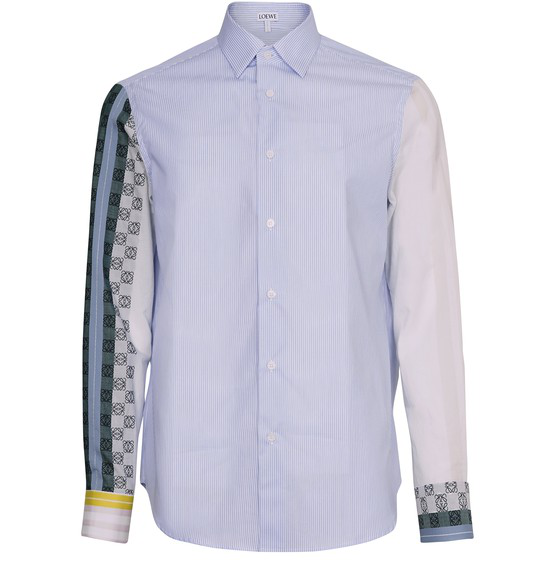 Loewe Striped Anagram Long-sleeved Shirt In Blue