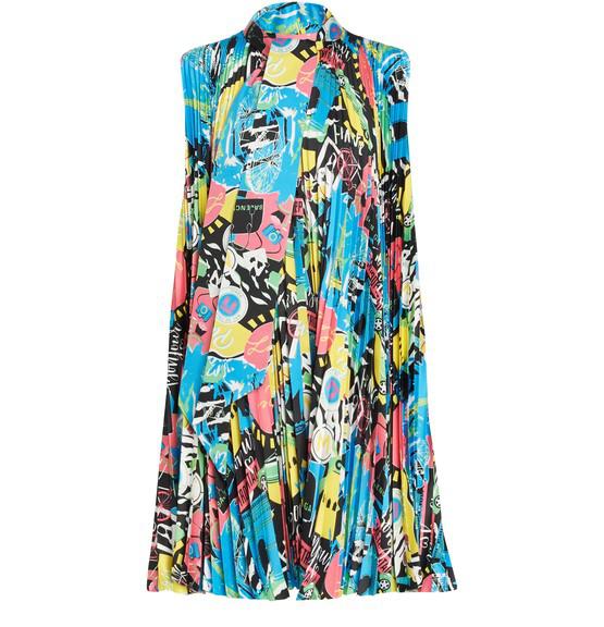Balenciaga Asymmetric Pleated Printed Satin Mini Dress In Blue