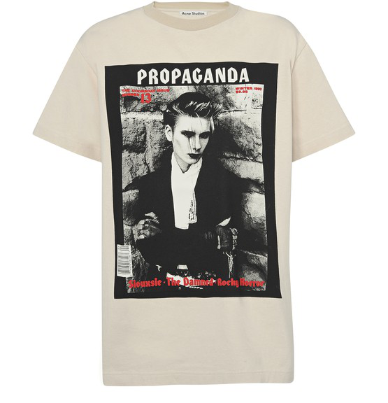 Acne Studios Erice Propaganda Magazine-print Cotton T-shirt In Neutrals