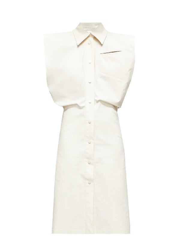 Bottega Veneta Cap Sleeve Coated Cotton Blend Shirtdress In White