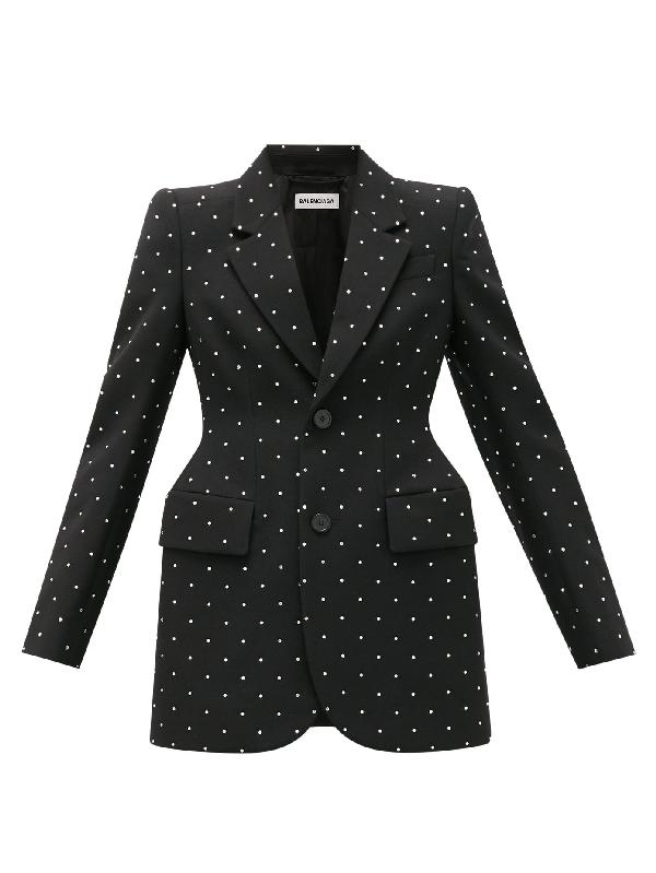 Balenciaga Hourglass Crystal-embellished Wool Jacket In Black