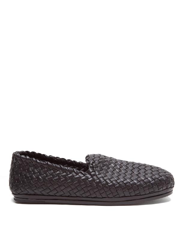 Bottega Veneta Fiandra Intrecciato Foulard Leather Slippers In 1000 Black