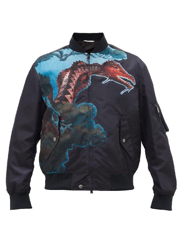 Valentino Dragon-print Technical Bomber Jacket In Black Multi