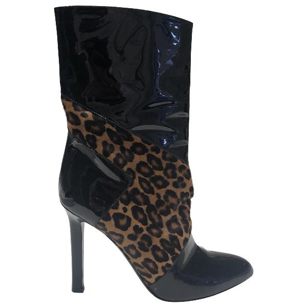 Tamara Mellon Black Pony-style Calfskin Boots