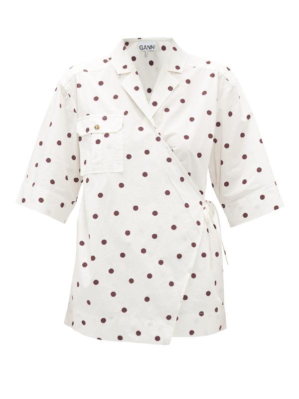 Ganni Dot Print Oversize Wrap Shirt In White Multi