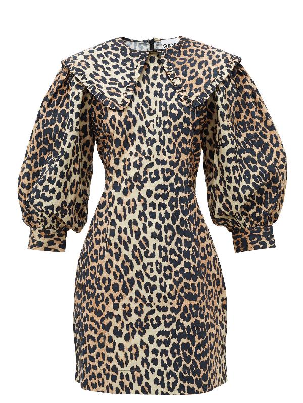 Ganni Leopard Print Cotton Poplin Mini Dress Colour: Brown