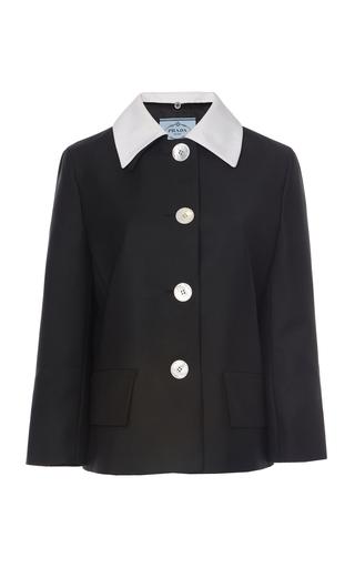 Prada Contrast Collar Mohair Wool Jacket In Black