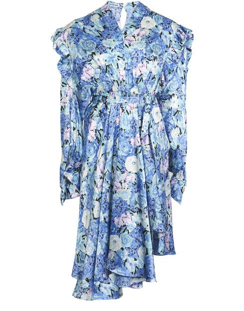 Balenciaga Abito  Asimmetrico In Seta Con Stampa Floreale In Blue