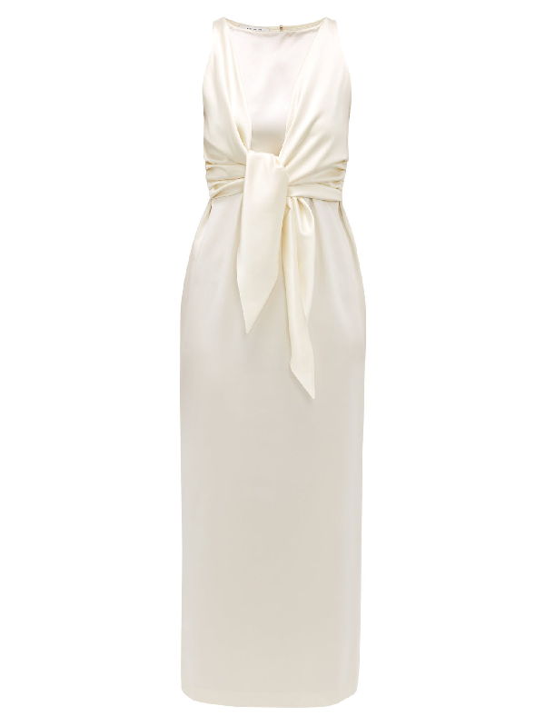 La Collection Nicole Tie-front Silk-charmeuse Dress In Ivory