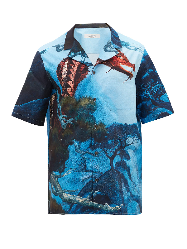 Valentino Multicolor Dragon Garden Short Sleeve Shirt In Blue
