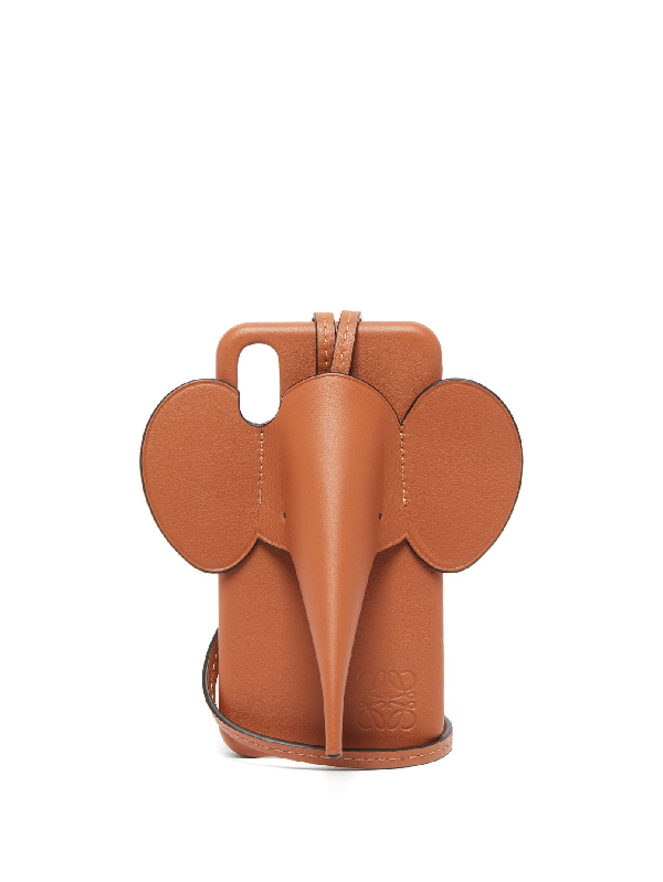 Loewe Elephant Full-grain Leather Iphone X And Xs Case In Brown