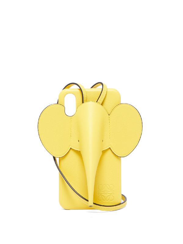 Loewe Elephant Iphone X/xs Case & Crossbody Strap In Yellow