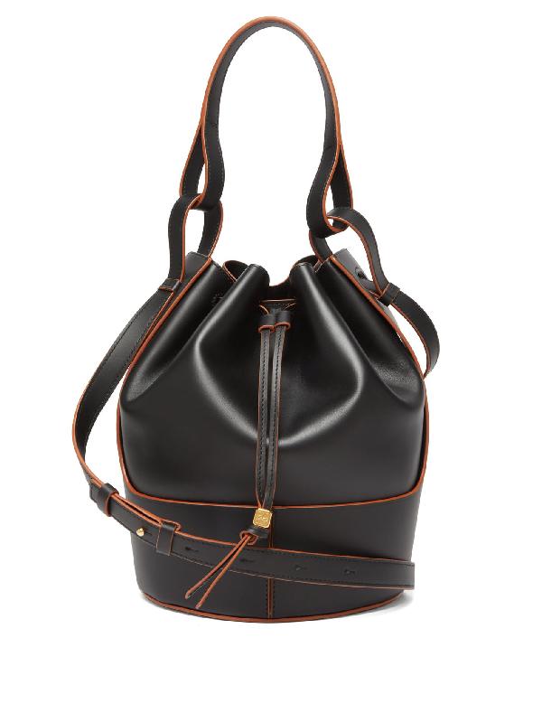 Loewe Bag 'balloon Bag' With Brown Stitching Black