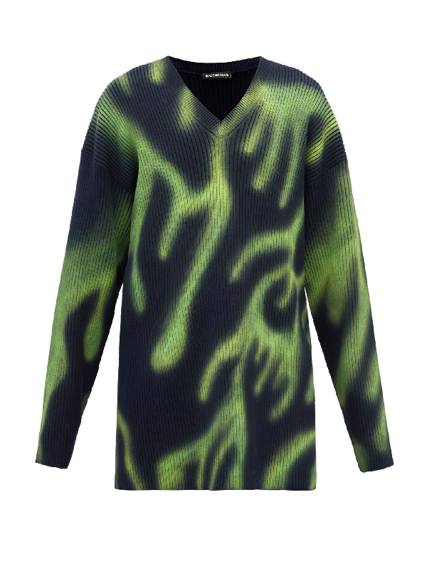 Balenciaga Graffiti Oversized Ribbed Stretch-wool Sweater In 3258 Nvygrn
