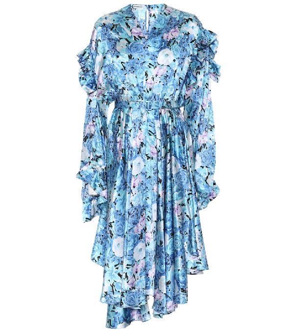 Balenciaga Asymmetric Floral Silk Satin Midi Dress In Blue