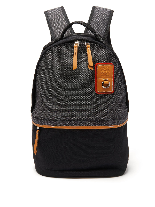 Loewe Leather-trimmed Canvas Backpack In Black