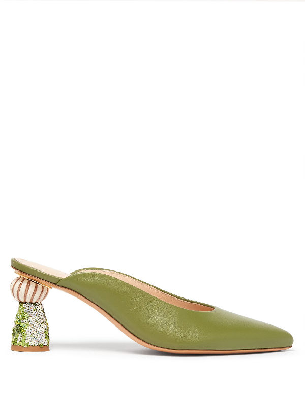 Jacquemus Maceio Embellished-heel Leather Mules In Green