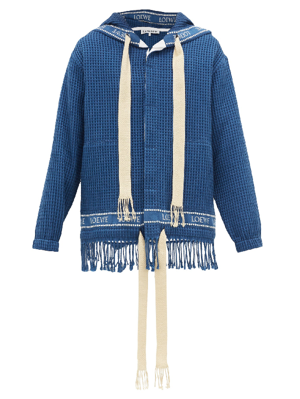 Loewe Fringed Cotton Waffle-piquÉ Hooded Jacket In Blue