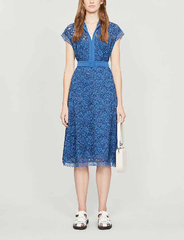 Claudie Pierlot Belted Lace Midi Dress In Storm