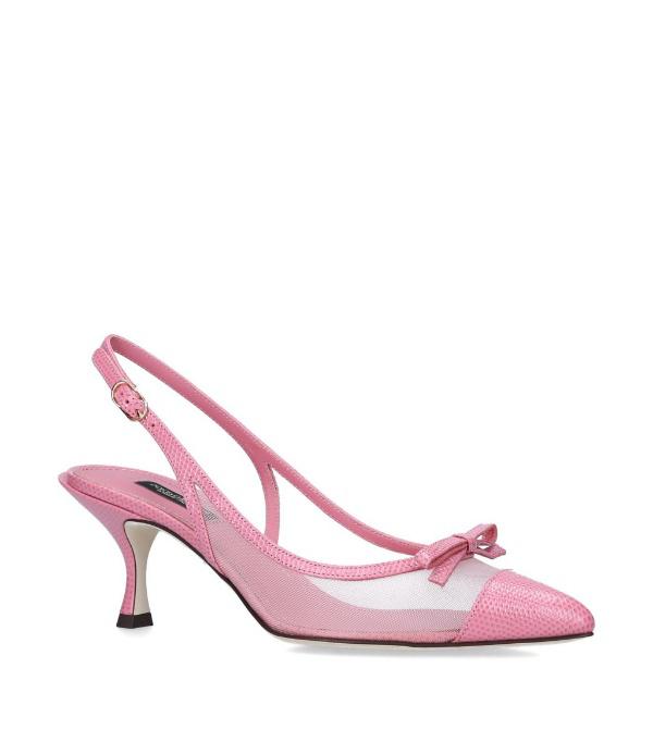 Dolce & Gabbana Lori Snake Print And Mesh Slingback Pumps In Pink