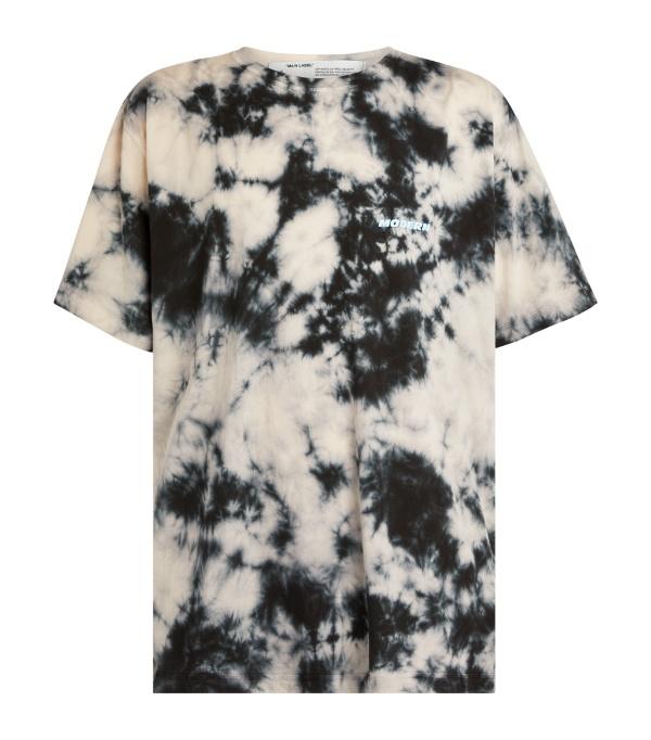 Off-white Tie Dye T-shirt In Beige And Black In 4800 Beige